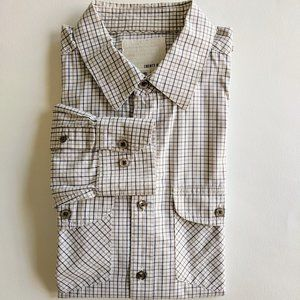 Long Sleeve Shoulder Tabs Plaid Buttondown Brown